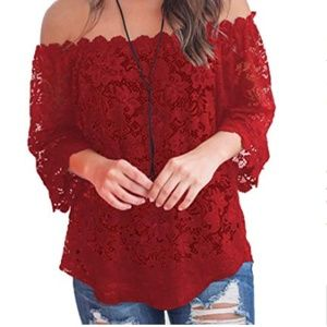 Lace Off Shoulder Tops Casual Loose Blouse